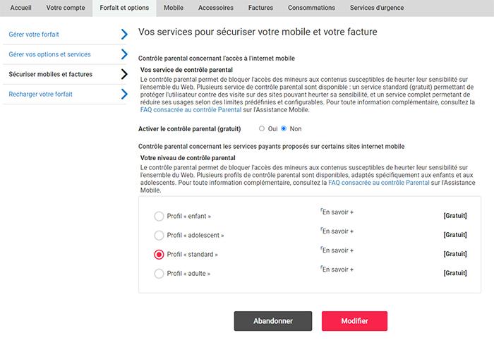 Capture d'écran de la page 'Vos services pour sécuriser votre mobile et votre facture' sur l'espace client, avec l'option 'Activer le contrôle parentale' à sélectionner