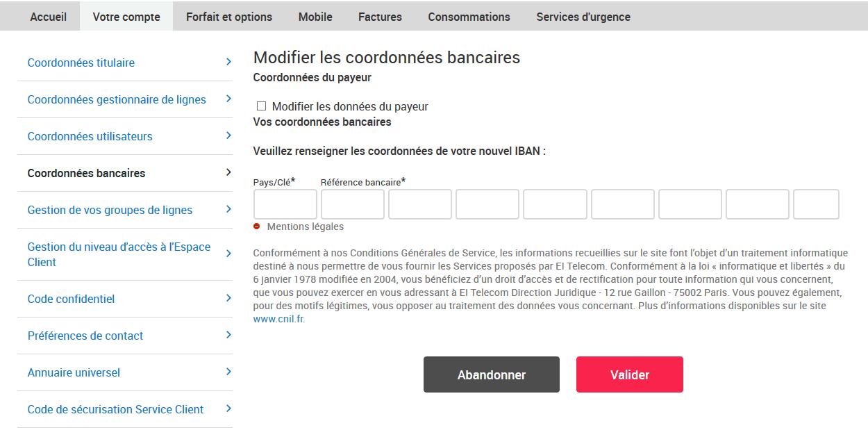 Capture de la page Modifier les coordonnées bancaires sur l'Espace Client