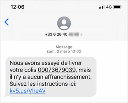 Exemple de SMS frauduleux